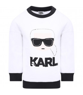 KARL LAGERFELD KIDS Felpa bianca perr bambina con Karl Cartoon colorato