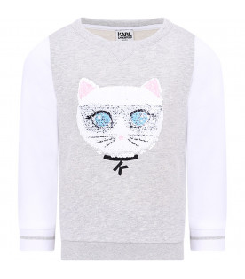 KARL LAGERFELD KIDS Grey girl sweatshirt with colorful Choupette