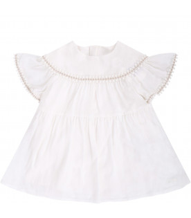 CHLOÉ KIDS White babygirl dress witth logo