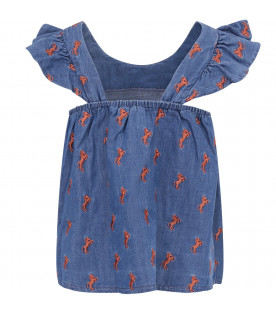 CHLOÉ KIDS Denim girl blouse with brown horses