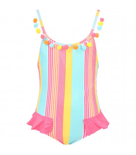 BILLIEBLUSH Multicolor girl swimssuit with pom-pom
