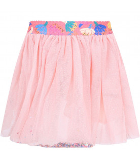 BILLIEBLUSH Pink babygirl skirt with colorful patches