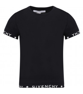 GIVENCHY KIDS Black kids T-shirt with white logo