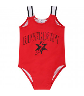GIVENCHY KIDS Red babygirrl swimsuit with red and black logo