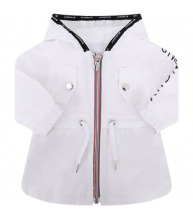 GIVENCHY KIDS White babykids windbreaker with black logo
