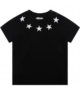 GIVENCHY KIDS Black babyboy T-shirt with white vintage stars