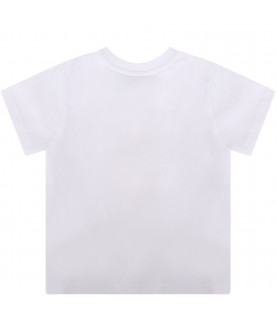 GIVENCHY KIDS White babykids T-shirt with white and black logo