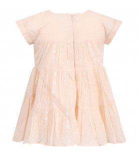 CHLOÉ KIDS Pink babygirl dress with white sequins