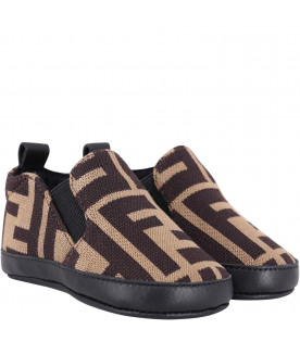 Brown babyboy slip-on with double FF