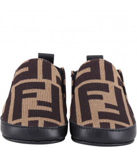 FENDI KIDS Brown babyboy slip-on with double FF