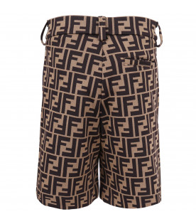 FENDI KIDS Brown boy short with double FF