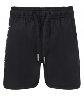 NEIL BARRETT KIDS Black boy swimwear with white logo