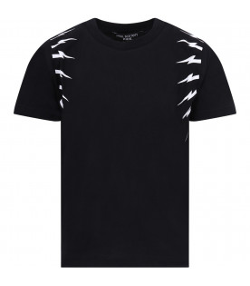 NEIL BARRETT KIDS Black boy T-shirt with white thunders