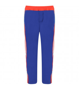Blue pants for girl with ivory and aquamarine logo