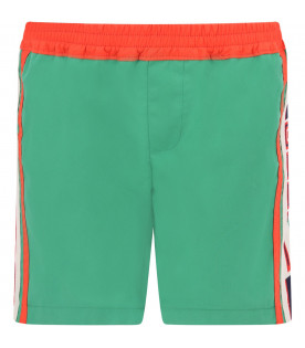 GUCCI KIDS Green boy short with blue and red logo