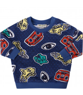 KENZO KIDS Blue babyboy sweatshirt with colorful iconic prints