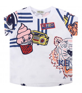 KENZO KIDS White babygirl T-shirt with colorful iconic print