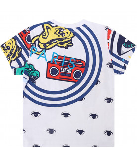 KENZO KIDS White babyboy T-shirt with colorful iconic print