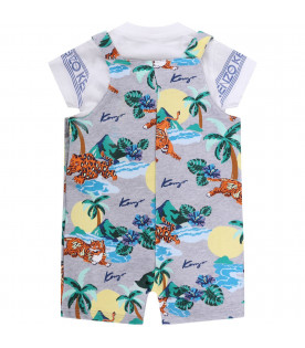 KENZO KIDS Grey babyboy overall with colorful tigers and palms
