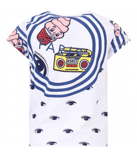 KENZO KIDS White girl T-shirt with colorful iconic print