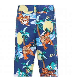 KENZO KIDS Blue boy short with colorful iconic print