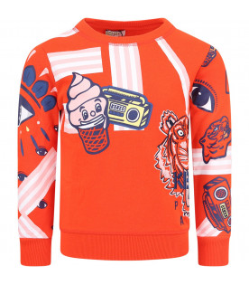 KENZO KIDS Red girl sweatshirt with colorful iconic prints