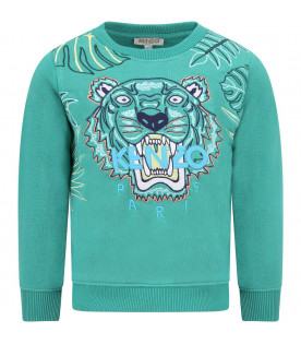 KENZO KIDS Green boy sweatshirt with colorful tiger
