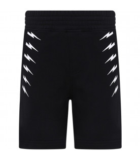 NEIL BARRETT KIDS Black boy short with white thunders
