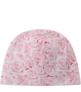 BLUMARINE BABY White babygirl hat with embroidered logo