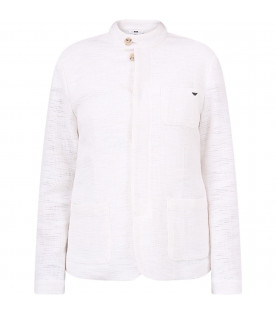 ARMANI JUNIOR White boy jacket with metallic eagle