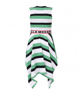 STELLA MCCARTNEY KIDS White and green girl dress with black logo