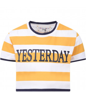 ALBERTA FERRETTI JUNIOR Yellow and white girl T-shirt with blue ''Yesterday'' writing