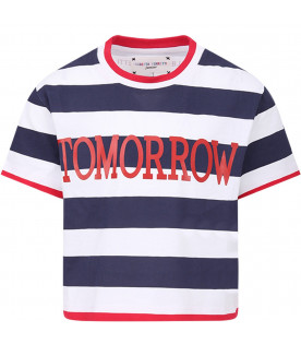ALBERTA FERRETTI JUNIOR Blue and white girl T-shirt with red ''Tomorrow'' writing