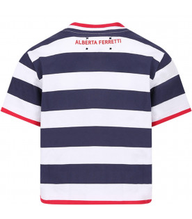 Blue and white girl T-shirt with red ''Tomorrow'' writing