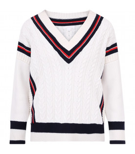 BURBERRY KIDS Ivory boy sweater with red and blue details