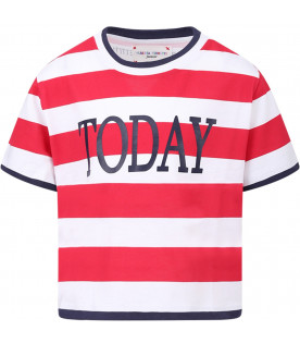 ALBERTA FERRETTI JUNIOR Red and white girl T-shirt with blue ''Today'' writing
