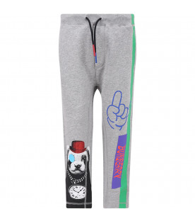 BURBERRY KIDS Grey boy sweatpant with colorful prints