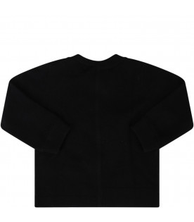 BURBERRY KIDS Black babykids sweater with white logo