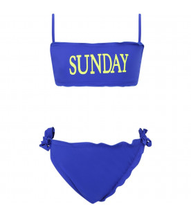 ALBERTA FERRETTI JUNIOR Blue girl bikini with neon yellow ''Sunday'' writing