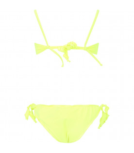 ALBERTA FERRETTI JUNIOR Neon yellow girl bikini with fucshia ''Monday'' writing
