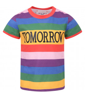 "T-shirt colorata per bambina con scritta ""Tomorrow"" nera"