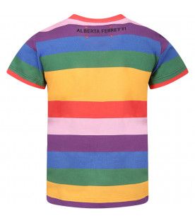 "ALBERTA FERRETTI JUNIOR T-shirt colorata per bambina con scritta ""Tomorrow"" nera"