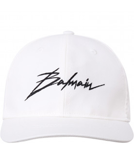 BALMAIN KIDS White kids hat with black logo