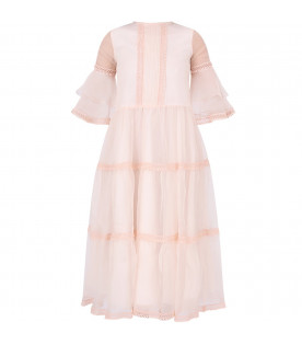 ALBERTA FERRETTI JUNIOR Light pink girl dress with pink embroidery