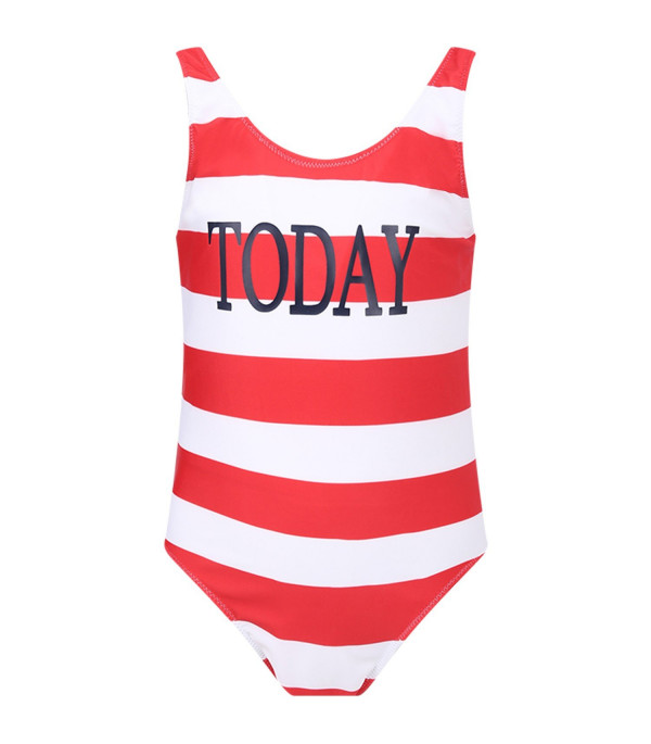 ALBERTA FERRETTI JUNIOR White and red girl swimsuit with red ''Today'' writing