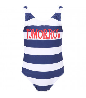 Blue and white girl swimsuit with red ''Tomorrow'' writing