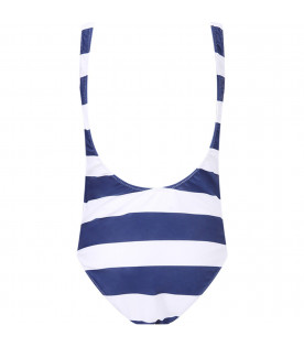 ALBERTA FERRETTI JUNIOR Blue and white girl swimsuit with red ''Tomorrow'' writing