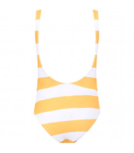 White and yellow girl swimsuit with black ''Yesterday'' writing