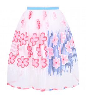 SIMONETTA White girl skirt with colorful flowers