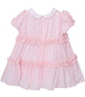 SIMONETTA White and pink babygirl dress with metallic logo